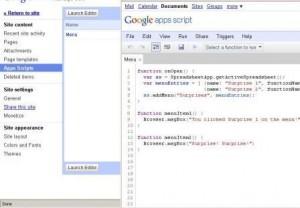 Google Apps Script in Google Sites