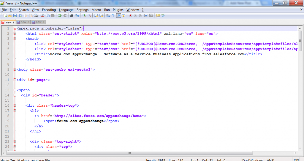 View Visualforce page in Notepad++