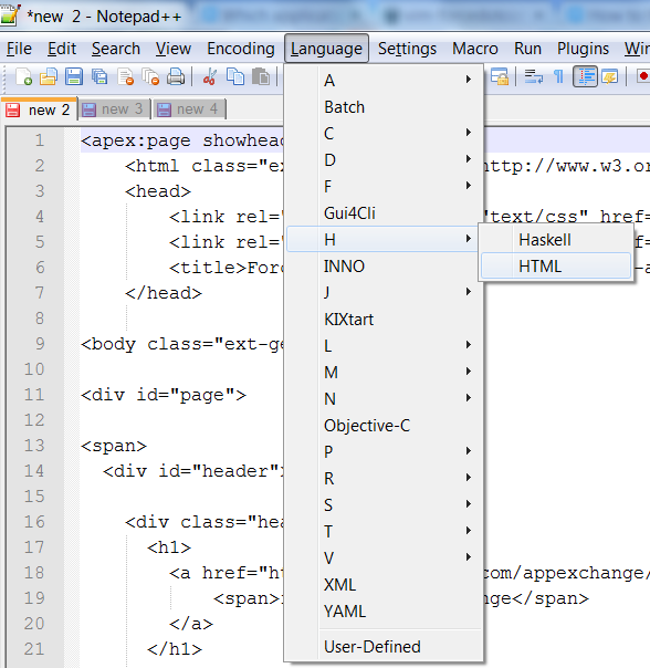 Turn on HTML to view Visualforce in Notepad++