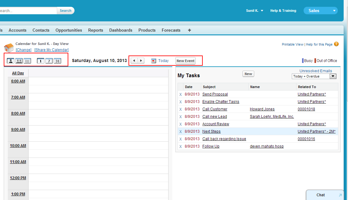 Calendar View (Day) Salesforce