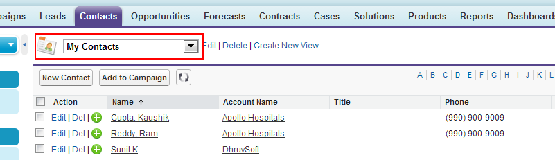 List view display in Salesforce.com