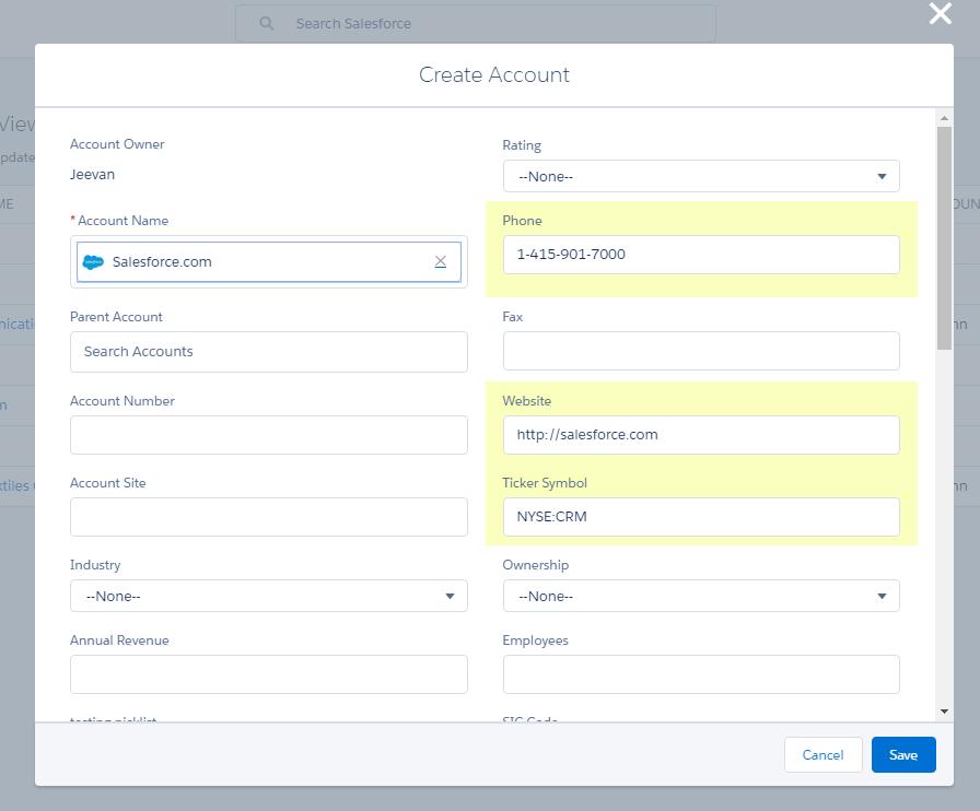 Accounts Auto Populate Salesforce