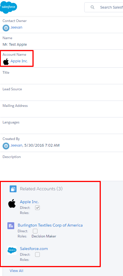 Multiple Accounts on contact
