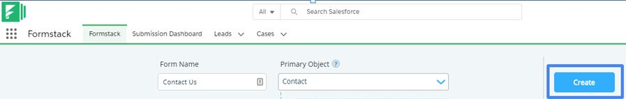 Enter Form name and select the primary object