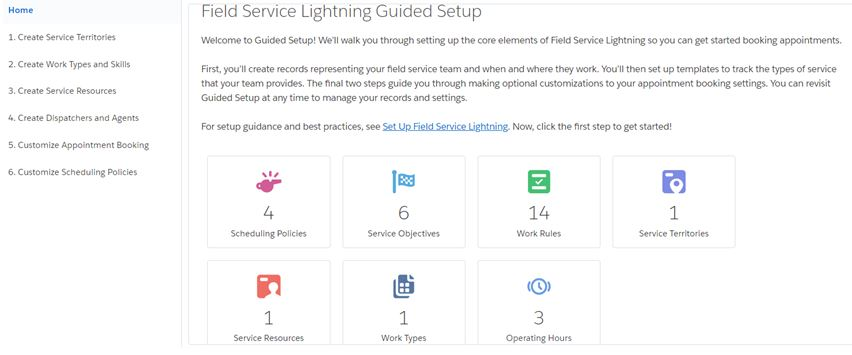 Field Service Settings Click on Go to Guided setup