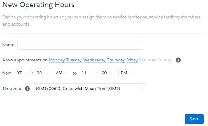 Service Territory New Operating Hours
