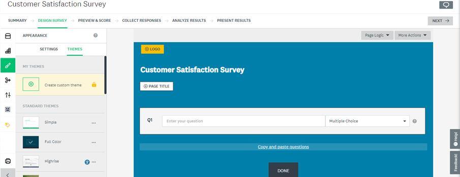 create custom theme customer satisfaction Survey