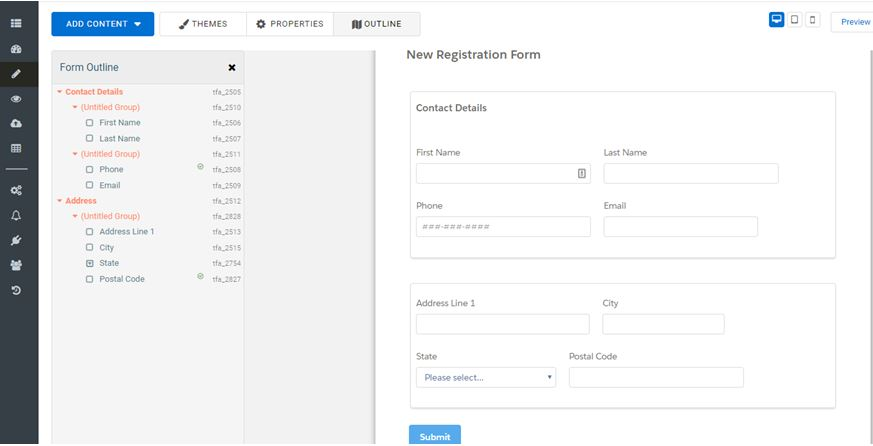 Creating a form called New Registration Form in FormAssembly with the fields