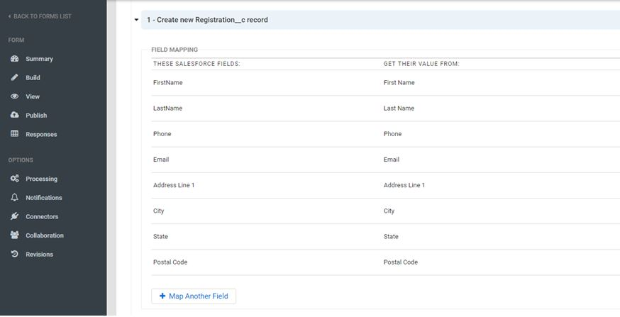 Mapping the form fields to Salesforce Registration object fields