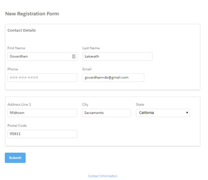 New Registration form with detail