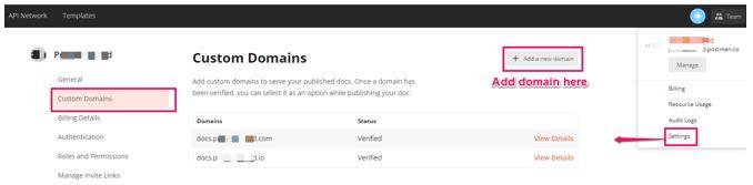 Postman API custom domain