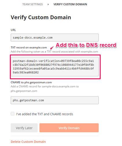 verify custom domain